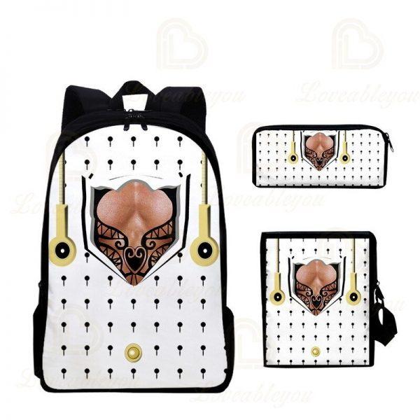 2020 New JOJO Bizarre Adventure Oxford Cloth Three piece Pencil Case Shoulder Bag Backpack Backpack Set 1 - Jojo's Bizarre Adventure Merch