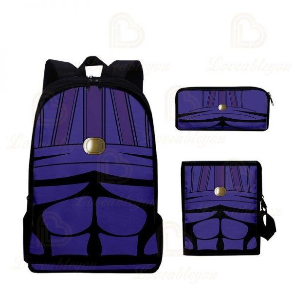 2020 New JOJO Bizarre Adventure Oxford Cloth Three piece Pencil Case Shoulder Bag Backpack Backpack Set 4 - Jojo's Bizarre Adventure Merch