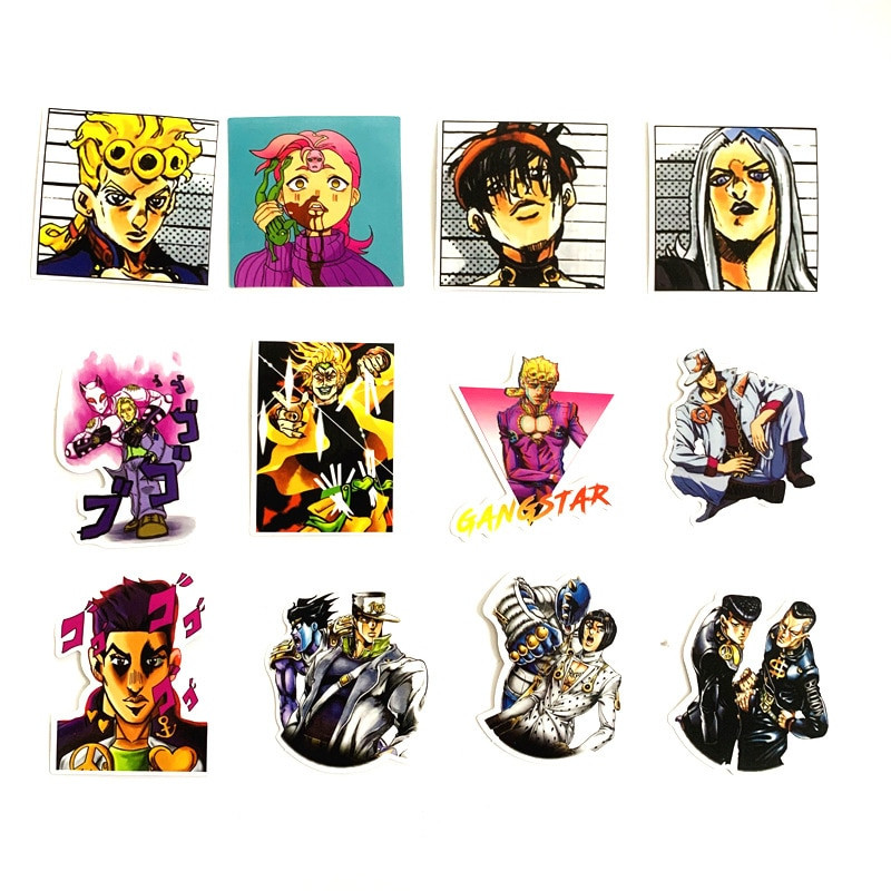 50pcs set Anime JoJo Bizarre Adventure Stickers Cosplay Accessories Prop PVC Waterproof Cartoon Decal Sticker 1 - Jojo's Bizarre Adventure Merch