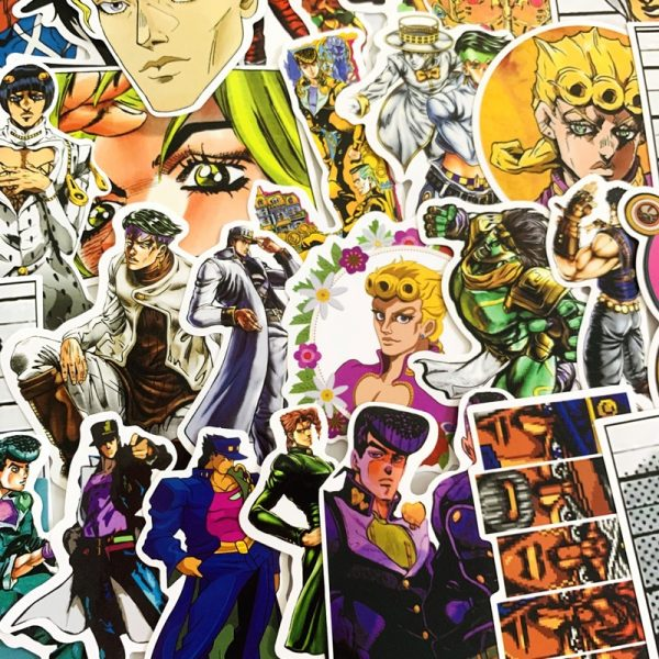 50pcs set Anime JoJo Bizarre Adventure Stickers Cosplay Accessories Prop PVC Waterproof Cartoon Decal Sticker 2 - Jojo's Bizarre Adventure Merch