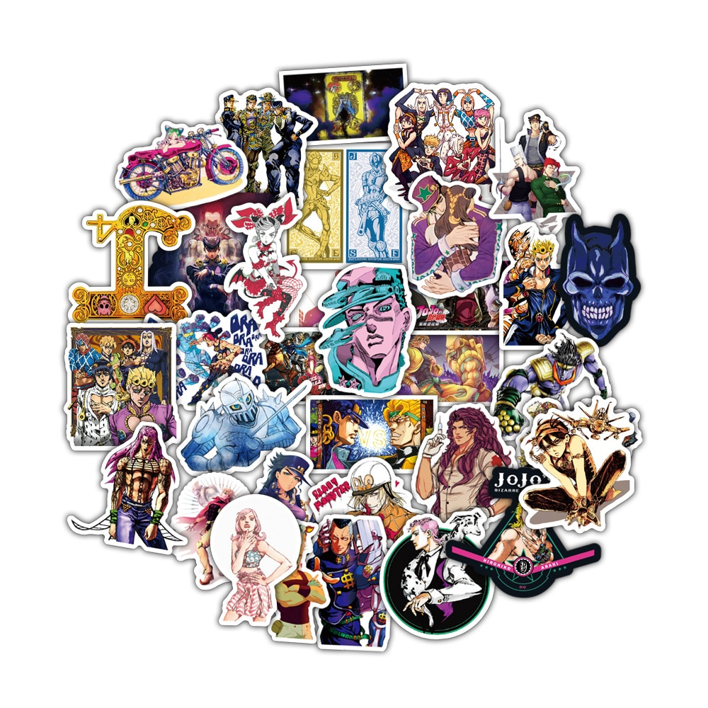 50pcs set Anime JoJo Bizarre Adventure Stickers Cosplay Accessories Prop PVC Waterproof Cartoon Decal Sticker 4 - Jojo's Bizarre Adventure Merch