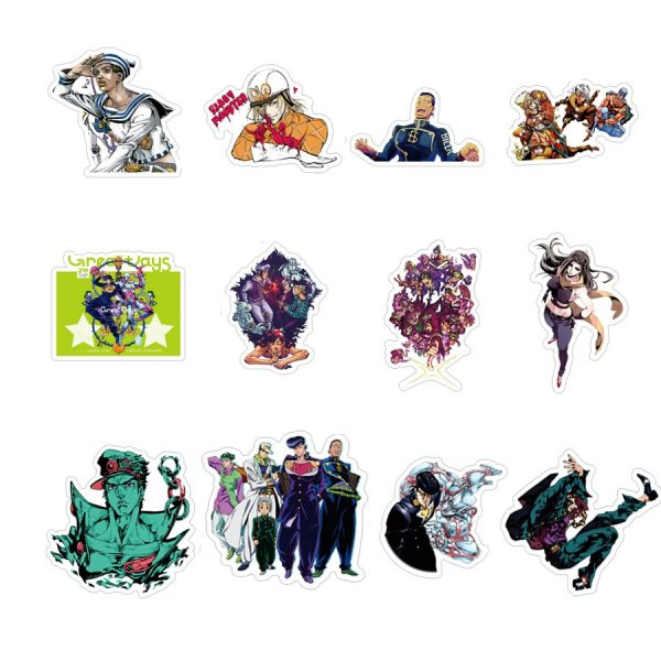 50pcs set Anime JoJo Bizarre Adventure Stickers Cosplay Accessories Prop PVC Waterproof Cartoon Decal Sticker 5 - Jojo's Bizarre Adventure Merch