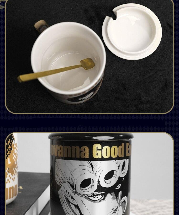 Ainme JoJo Bizarre Adventure Bruno Bucciarati Cosplay Cup Gold Ceramics 400ml Mug Cup Spoon Cover 3 - Jojo's Bizarre Adventure Merch