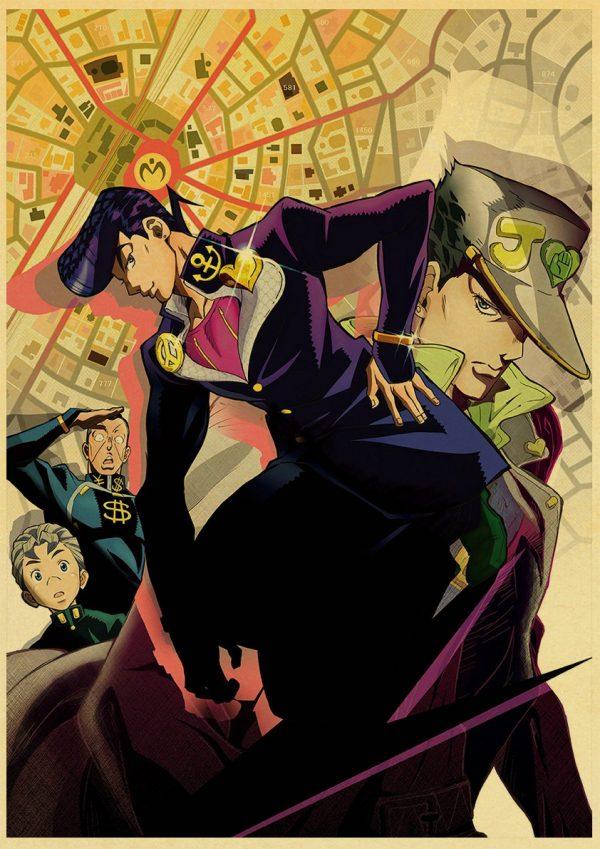 Anime JoJo s Bizarre Adventure JOJO Poster Action Anime retro Poster Painting Wall Art for Living 1 - Jojo's Bizarre Adventure Merch