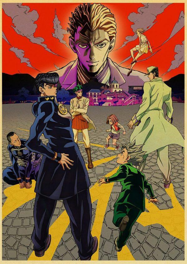 Anime JoJo s Bizarre Adventure JOJO Poster Action Anime retro Poster Painting Wall Art for Living 2 - Jojo's Bizarre Adventure Merch