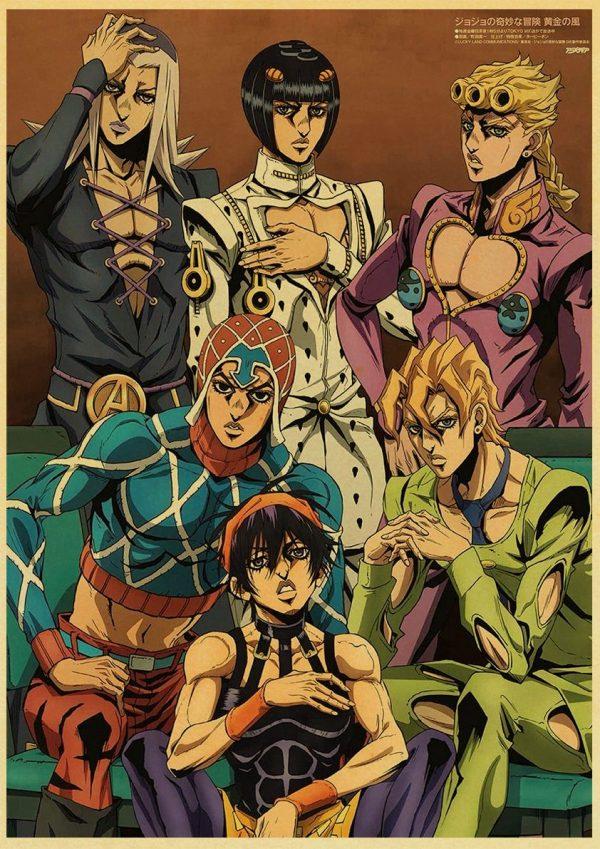 Anime JoJo s Bizarre Adventure JOJO Poster Action Anime retro Poster Painting Wall Art for Living 4 - Jojo's Bizarre Adventure Merch