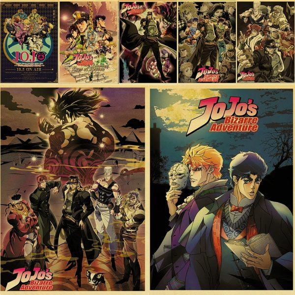 Anime JoJo s Bizarre Adventure JOJO Poster Action Anime retro Poster Painting Wall Art for Living - Jojo's Bizarre Adventure Merch