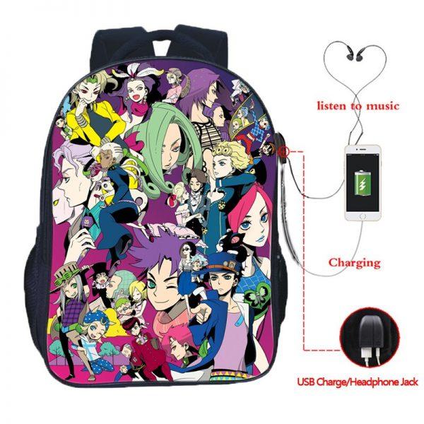 JoJo s Bizarre Adventure Backpack JoJo No Kimyou Na Bouken Jotaro Men Women Boys Girls USB 5 - Jojo's Bizarre Adventure Merch