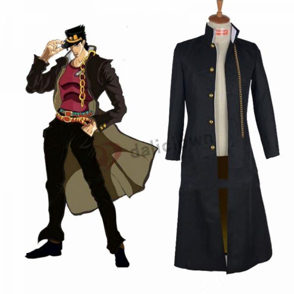 JoJo s Bizarre Adventure Jotaro Kujo Cosplay Costume Anime Black Coat Jacket Hat Halloween Party Outfits 1 - Jojo's Bizarre Adventure Merch