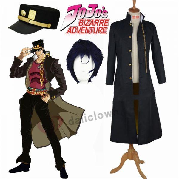 JoJo s Bizarre Adventure Jotaro Kujo Cosplay Costume Anime Black Coat Jacket Hat Halloween Party Outfits - Jojo's Bizarre Adventure Merch
