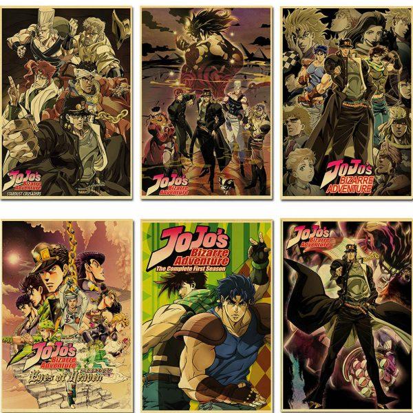 classic Anime JoJo s Bizarre Adventure JOJO Poster Action Anime retro Poster Painting Wall Art for - Jojo's Bizarre Adventure Merch
