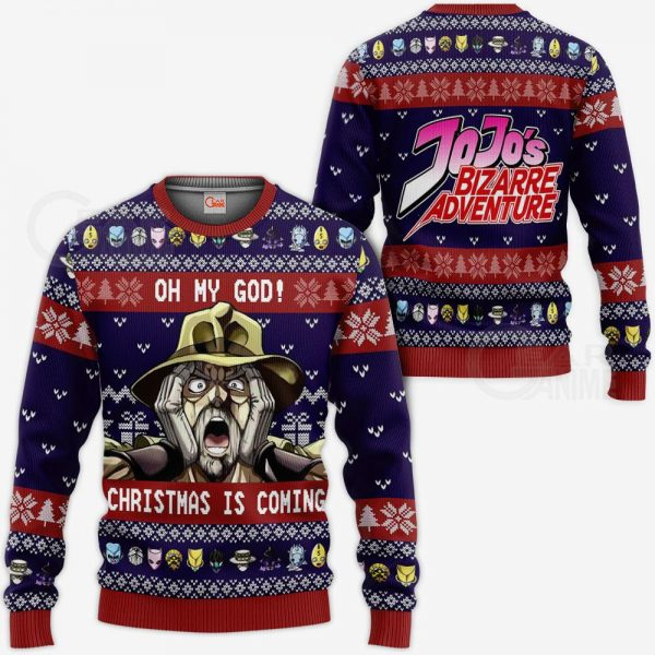 JJBA Sweater - Joseph Joestar Ugly Christmas Sweater Oh My God