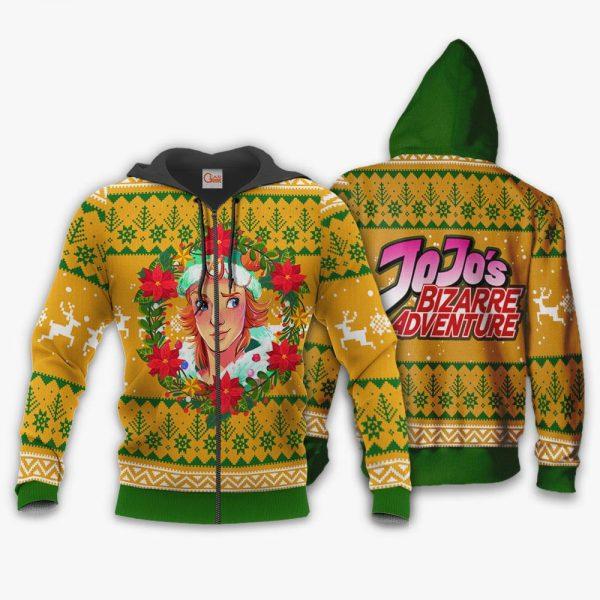 1104 AOP Jojo Characters Ugly Xmas VA Dio Brando 1 Zip hoodie font and back n - Jojo's Bizarre Adventure Merch
