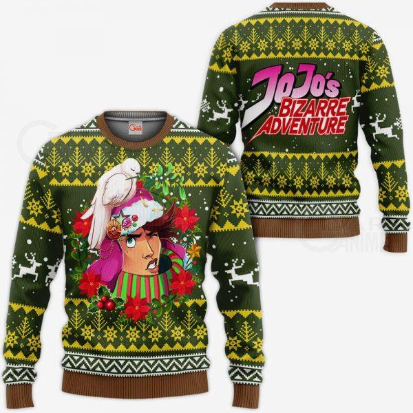 1104 AOP Jojo Characters Ugly Xmas VA Joseph Joestar 3 MK sweatshirt F 2BB - Jojo's Bizarre Adventure Merch