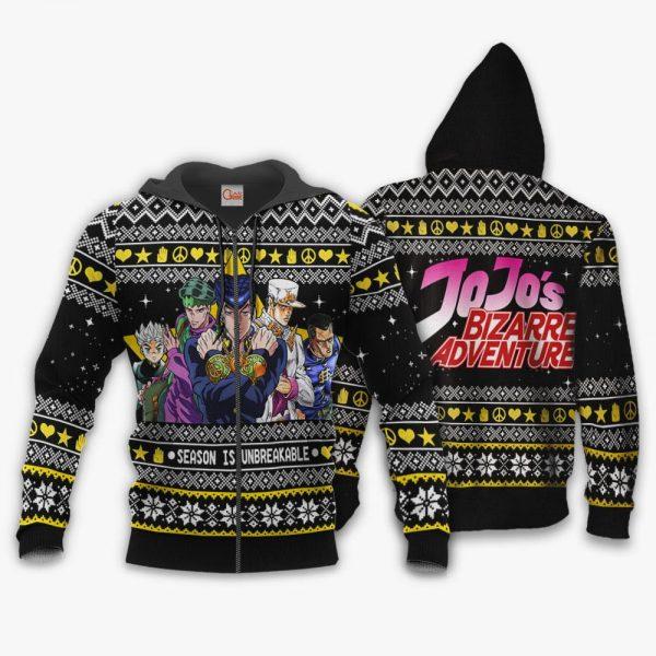 1105 AOP Jojo Ugly Sweater VA 1 Zip hoodie font and back n - Jojo's Bizarre Adventure Merch