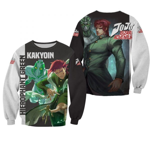 kakyoin hierophant green shirt jojo anime hoodie sweater gearanime 2 - Jojo's Bizarre Adventure Merch